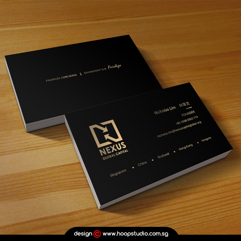gold hotstamping business card design and printing